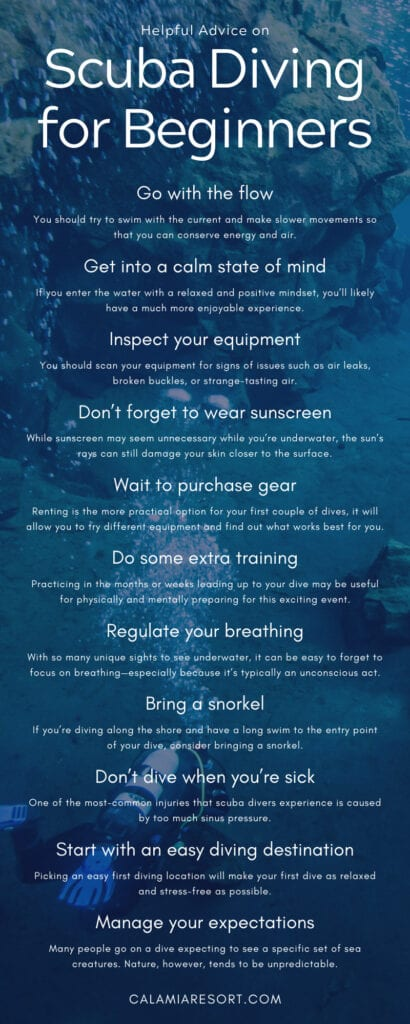 helpful advice on scuba diving for beginners infographic