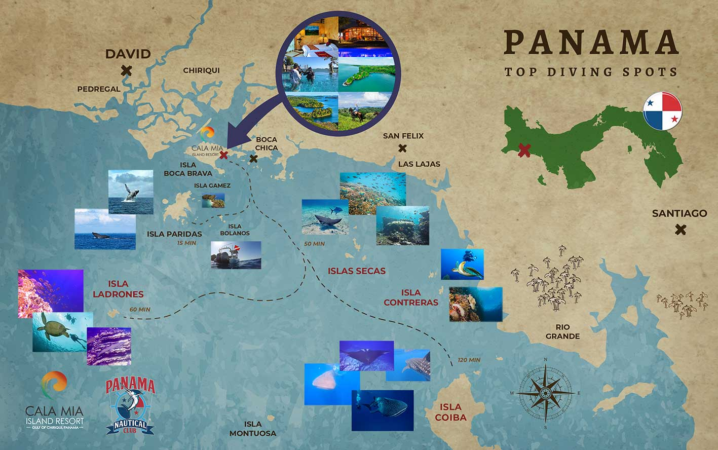 Panama Scuba Dive Map