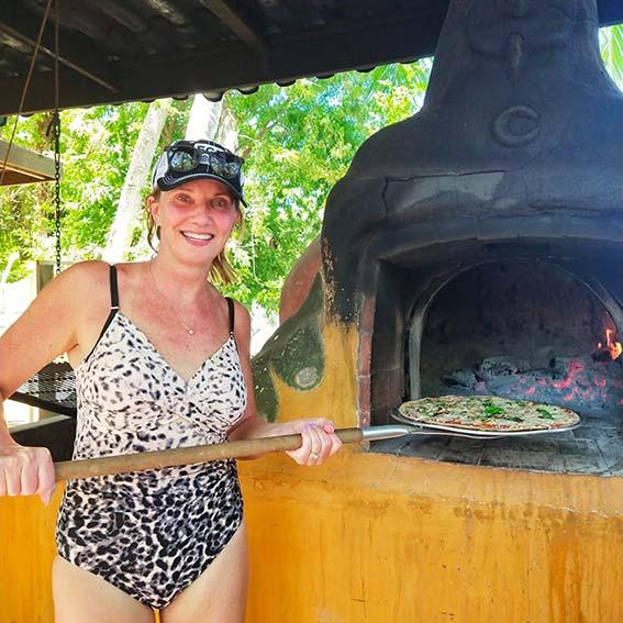 Panama Beach Club with pizza