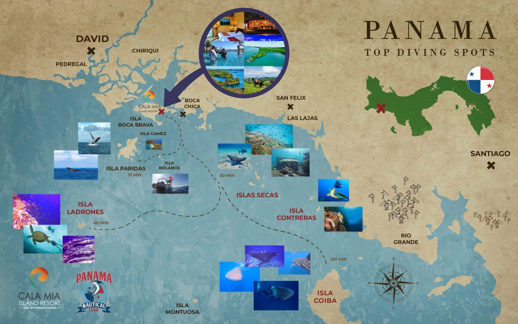 Panama Coiba Dive map